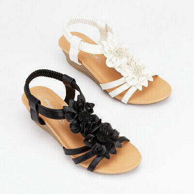Ladies Flower Strappy Sandals Womens Summer Faux Leather Mid Wedge Beach Shoes