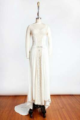BOMBSHELL Vintage 1940s White Velvet and Lace Wedding Gown XS