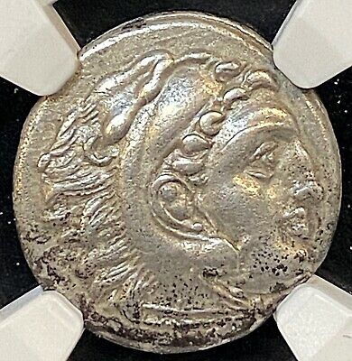 Alexander The Great 310-301BC Lampsakos Ancient Greek Silver Drachm NGC Ch VF