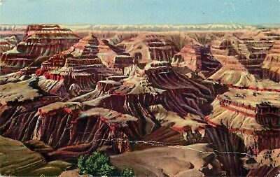 Std Chrome Postcard AZ D732 Looking North from Grandeur Point Grand Canyon 1956