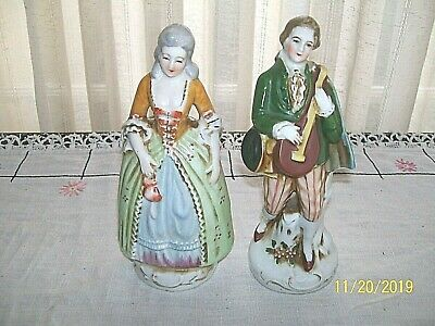 """Two 7"""" Victorian Figurines Made In Occupied Japan"""