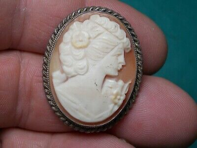 vintage cameo brooch ready to wear with nice detail metal detecting finds