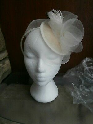 Ivory Fascinator. Spotted Brown Feathers, Swirling Design Fine Netting, Fabulous