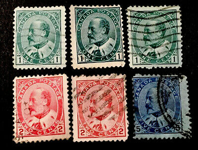 Canada King Edward VII 1903 selection x 6 VFU STAMPS