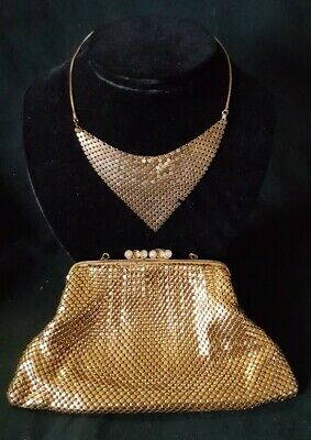 Vintage Gold Metal Purse Bag With Matching Necklace