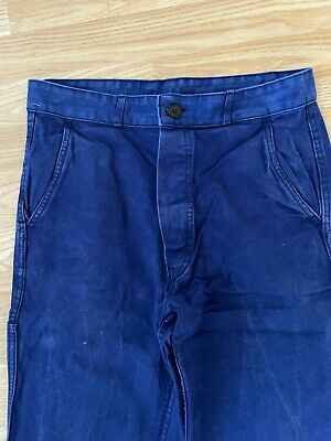 Vintage French Moleskin Chore Pants Faded and Worn 'Bleu de Travail' W30 L31