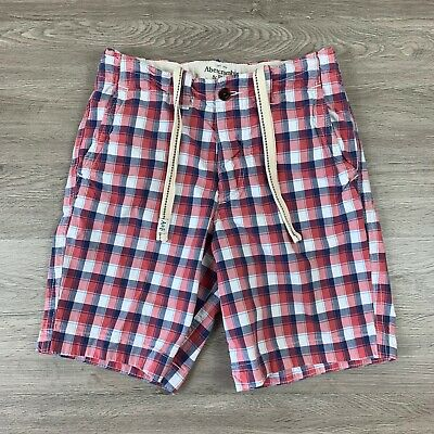 mens - ABERCROMBIE & FITCH shorts - 30 - PLAID - CHINO - Button Fly - Drawstring