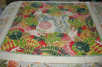 """Vintage Florida Tablecloth 52"""" square Smartex Yellows, Greens, Reds"""