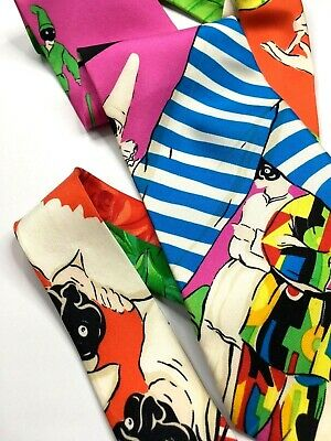 GIANNI VERSACE COUTURE VINTAGE '90s HARLEQUIN BUFFOON TIE MASK NAPOLI ITALY BLUE