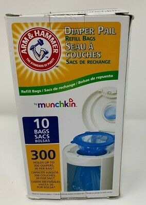 Arm & Hammer Munchkin Diaper Pail Refill Bags, 10-Pack Holds 300 Diapers