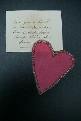 † St Therese Of Lisieux Carmelite Silk & Silver Heart Reliquary 1 Relic France †