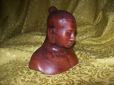 HAND-CARVED ROSEWOOD JAPANESE SERENE SCULPTURE BUST of REFLECTIVE MAN / BUDDHA
