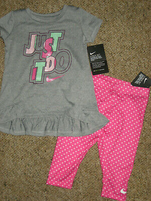 New girls Nike 4t toddler top lot dri fit outfit set shirt legging just do it