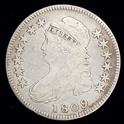 1809 Capped Bust Half Dollar 50c Coin in VG Condition