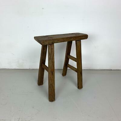 Vintage Rustic Antique Wooden Stool Milking Large Waxed W130