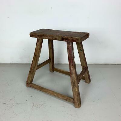 Vintage Rustic Antique Wooden Stool Milking Large Waxed W131