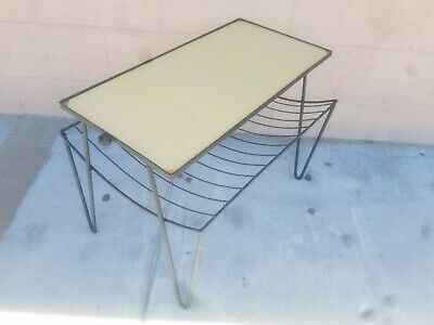 Vintage Mid Century Modern Wrought Iron Magazine Rack-Side Table