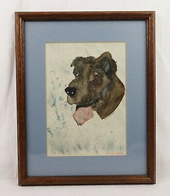 Vintage Primitive Naive Folk Art Watercolor Painting of Great Dane Dog Portrait