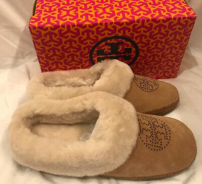 Tory Burch NIB Coley Perforated Slippers Deep Split Suede Natural Royal Tan