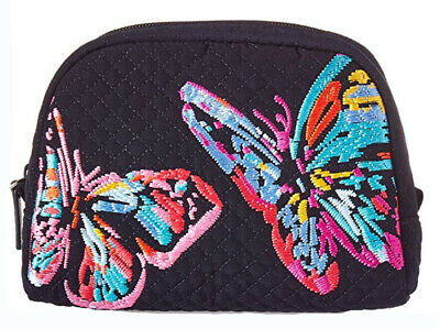 Vera Bradley Iconic Medium Cosmetic Classic Navy Embroidered Butterflies