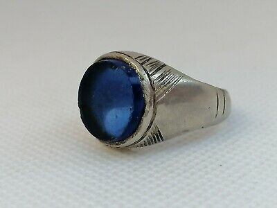 Ancient Roman Ring Metal Color Silver Artifact Authentic With Beautiful Stone