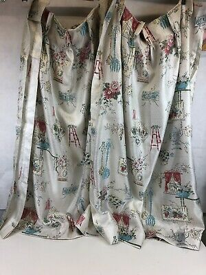 "VTG 45"" X 100"" Fiberglass Curtain Panel Mid Century Pink Blue Silver Floral 50s"