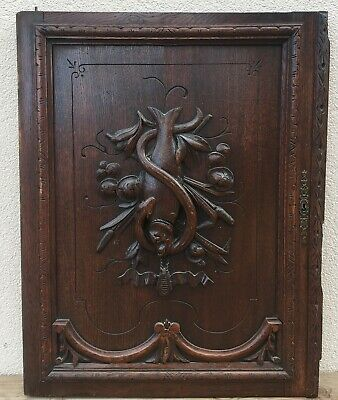 Huge antique french furniture door early 1900's black forest hunting scene fish