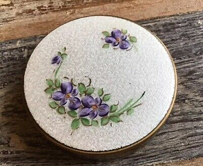 Vintage Guilloche White Green Purple Flower Compact & Mirror Vanity Collectible