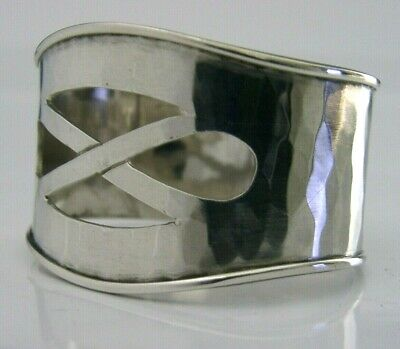 Beautiful Arts & Crafts Sterling Silver Napkin Ring Plannished Hand Made 1975