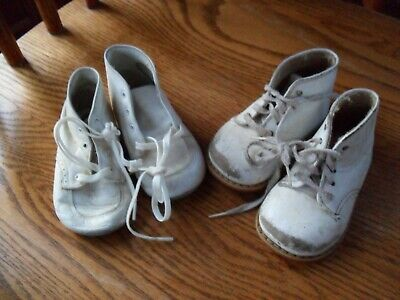2 Vintage Pair Baby Shoes - White Leather