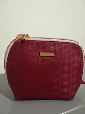 Ted Baker Cosmetic Makeup Bag Rose Gold Coloured Zip and Bow Zip Pull