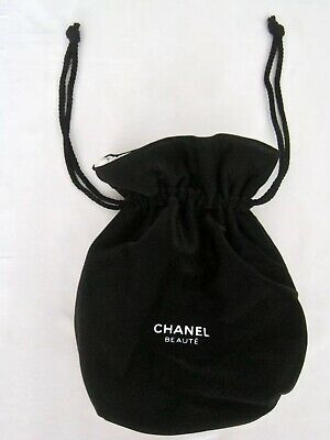 Chanel Beaute Cosmetic Makeup Bag Drawstring Satin Lined