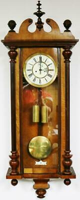 Antique Gustav Becker 8 Day Walnut Twin Weight Vienna Regulator Wall Clock C1890