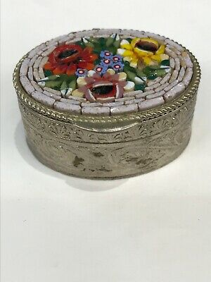 Vintage Pill Trinket Ring Box Micro Mosaic Silver-Tone Tiny Oval Stamped Italy