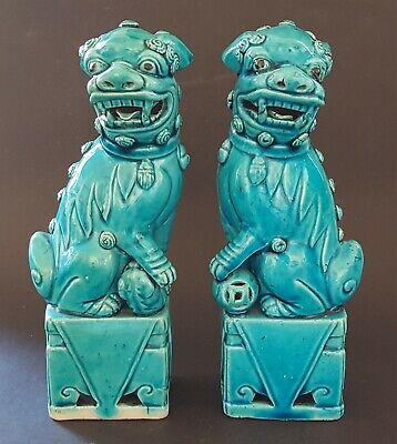 Chinese turquoise blue glaze vintage Victorian antique pair of Dogs Fo figurines