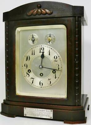 Antique Junghans 8 Day Musical Bracket Clock Westminster Chime Mantel Clock