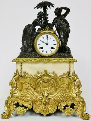 Antique French Empire Figurine Mantel Clock Bronze 8Day Striking Silk Suspension