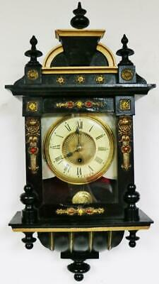 Antique 8 Day Ebonised Vienna Wall Clock American Timepiece Wall Clock C1900