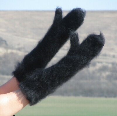 BLACK long mohair mittens thick warm handmade soft ski hand warmers Fuzzy Fluffy