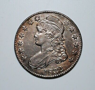 1832 Capped Bust Half.   AU+     high grade                O-102a    R3 (scarce)