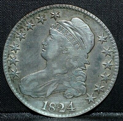 1824 Capped Bust Half ✪ Vf Details ✪ 50C Silver Very Fine L@@K Now ◢Trusted◣