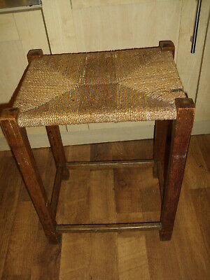 Vintage Retro Wicker Rattan Wood Brown Stool H 56 cm