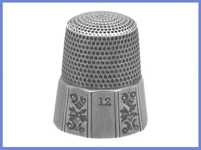 Antique Sterling Silver Thimble with Art-Deco Design Panels *C.1890s
