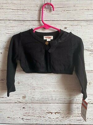 ~NWT~ Cat & Jack Girls Size 12 Months Black One Button Long Sleeve Sweater