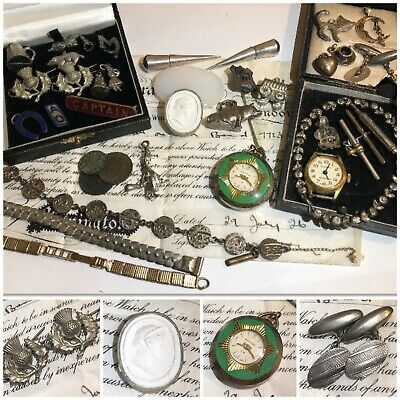 Job Lot Vintage Antique Curio, Cufflinks, Pocket Watch, Enamel Badges etc (AF)