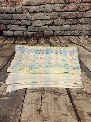 Vintage Beacon Pastel Plaid Baby Blanket 100% Cotton Thermal Open Waffle Weave