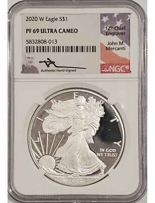 2020 W American Silver Eagle NGC PF69 Mercanti Signed