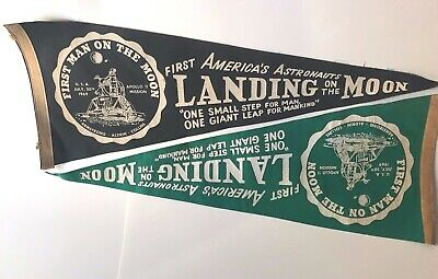 """1969 Vintage Original Apollo 11 """"First Landing on the Moon"""" Pennant Lot of 2"""