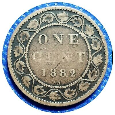 💰1882 Canada Large One Cent Coin (95% Copper) - VICTORIA DEL GRATIA REGINA #23