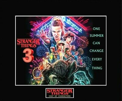 "STRANGER THINGS 3 Cast of Characters 8"" x 10"" Photo - 11"" x 14"" Matted"
